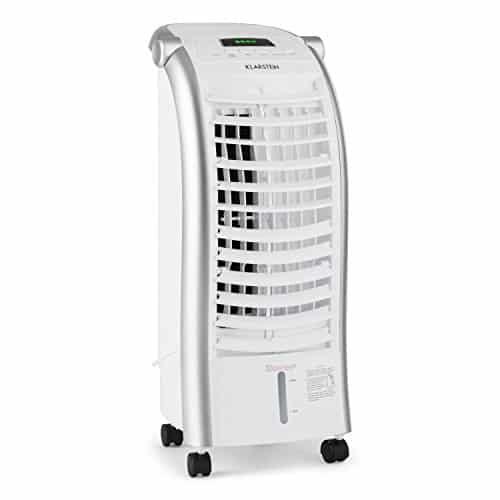 Klarstein Maxfresh WH ventilador climatizador portátil mando distancia (Humidificador 6L, 65W potencia, bajo consumo, 3 modos ventilación, lamas orientables, panel LED, programable, bolsa de hielo, ruedas fácil transporte, blanco)
