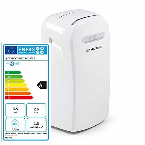 TROTEC PAC 3500 – Acondicionador de aire local, 3,5 kW / 12.000 Btu, 3 velocidades, Blanco