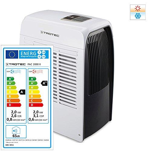 TROTEC Acondicionador de Aire Local PAC 2000 X, 2,0 kW, 7000 Btu (EEK A) 3 en 1: Aire Acondicionado, Deshumidificador y Calefactor