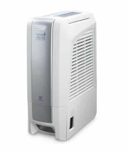 DeLonghi DNC 65 Deshumidificador sin compresor, 18 l diarios, con purificador e ionizador, tecnología silenciosa, 495 W, Acero Inoxidable, Color blanco