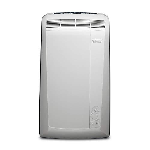 DeLonghi Pac N90 Eco Silent Aire Acondicionado portátil, Capacidad refrigeración 9800 BTU, Ventilador y función deshumidificación, Control Remoto, fácil Transporte, Blanco