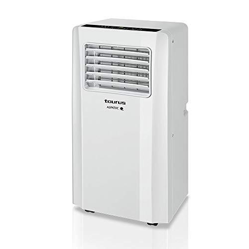 Taurus AC 2600 KT – Aire acondicionado portátil 3 en 1 (frío, deshumidificador y ventilador, silencioso, temporizador, control remoto, kit ventana, ruedas, compacto, 1050 W) blanco